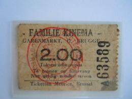Ticket Brugge Bruges Cinema Familie Kinema 1936 - Toegangskaarten