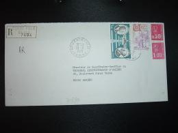 LR AR TP DAURAT VANIER 5,00 + USSEL 2n00 + BEQUET 1,00 + 0,50 OBL.13-3 1978 80 CONDE-FOLIE SOMME + Griffe Linéaire - Marcofilia (sobres)