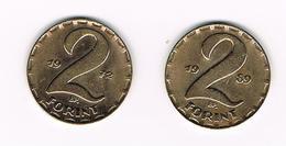 HONGARIJE  2 X 2 FORINT  1972/1989 - Hongrie