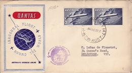 18788# AUSTRALIE LETTRE INAUGURAL FLIGHT ROUND THE WORLD Obl G.P.O. SYDNEY 147 N.S.W. AUST 1958 Pour MELBOURNE AUSTRALIA - Luftpost
