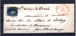 1855    Léopold Ier Sur Lettre,  7 Ob, Cote 17,50,€ - 1851-1857 Medallions (6/8)