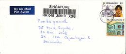Singapore Registered Cover Sent Air Mail To Denmark 13-12-1993 - Singapore (1959-...)