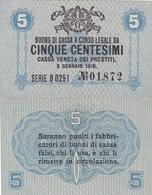 CASSA VENETA DEI PRESTITI - CAT. N° 10 - RARO - 5 CENTS - FIOR DI STAMPA SERIE B Nr.01,872 - Biglietti Consorziale
