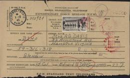 Télégramme Américain Avec YT Chenonceau 611 Seul Sur Doc 25F Noir CAD Central Radio Paris Censure Passed By Base 1071 - Storia Postale