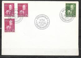 Suède FDC Lettre  Premier Jour  Stockholm  Le 26/09/1966   N° 544a,544ab Et 545 Carl Jonas Love Almqvist  TB - Briefe U. Dokumente