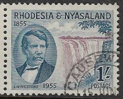Rhodesia & Nyasaland SG17 1955 Victoria Falls 1/- Good/fine Used [37/30727/2D] - Rhodesia & Nyasaland (1954-1963)
