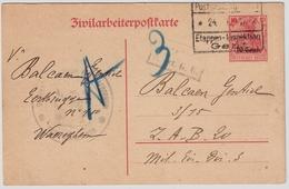 "Belgien ,Etapes 1917, Zivilarbeiterpostkarte "" 10 Cent., #a514 - [OC26/37] Staging Zone"