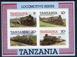 6245 (trains) Tanzania 1985 Locomotives Imperf Proof Miniature Sheet With 'AMERIPEX 86' Opt In Gold (unissued) U/m - Trains