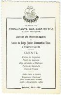 Menu. Restaurante Galeota. Ericeira, 30-9-1951. - Menus