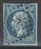 France - YT 14Ad Bleu Sur Vert Oblitéré PC 1452 Grenoble Isère - 1853-1860 Napoleon III