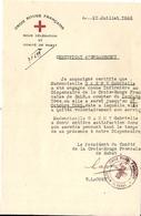 CROIX ROUGE FRANCAISE . COMITE DE RABAT . CERTIFICAT SIGNE PRESIDENT - Historische Dokumente