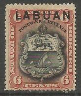 Labuan - 1894 Arms 6c MH *    SG 67 - North Borneo (...-1963)