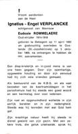 Bekegem, Oostende, 1969, Ignatius Verplancke,Rommelaere - Devotion Images