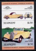 1860 (cars) St Vincent 1983 $1.50 Citroen Tourer (1937) Unmounted Mint Imperf Se-tenant Pair (as SG 731a) - Voitures