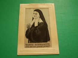 Carte Brodée Soie De Sainte Bernadette Soubirous - Embroidered