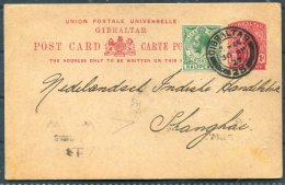 1927 Gibraltar Uprated Stationery Postcard.Barclays / Anglo-Egyption Bank - N.I. Handelsbank,Shanghai Chinia, Hong Kong - Gibraltar