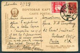1928 USSR Moscow Postcard - Praha, Prague, CSA Czechoslovakia - 1923-1991 USSR