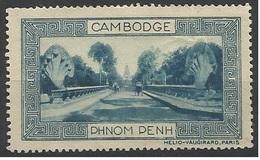 Indochine Cambodge Vignette Erinnophilie Phnom Penh Bleue - Indochina (1889-1945)