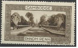 Indochine Cambodge Vignette Erinnophilie Phnom Penh Sépia - Indochina (1889-1945)