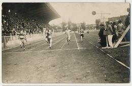 Real Photo Stade Jean Bouin Arrivée Du 100 Metres Tribunes Stadium - Athlétisme
