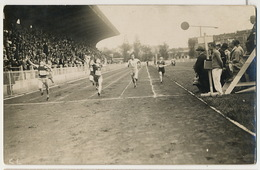 Real Photo Stade Jean Bouin Arrivée Du 100 Metres Tribunes Stadium - Atletismo