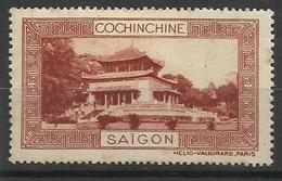 Indochine Cochinchine Vignette Erinnophilie Saigon Brun-rouge - Indochina (1889-1945)