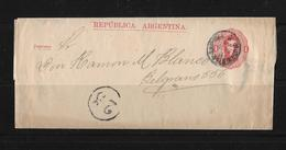 1890 Argentina → 1 C Red PS Wrapper Buenos Aires Local Cover, With Postman Walk 23 - Entiers Postaux