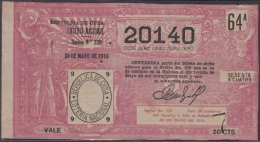 LOT-309  CUBA REPUBLIC OLD LOTTERY SORTEO DE LOTERIA Nº 239 30/05/1916 - Lottery Tickets