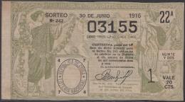 LOT-312  CUBA REPUBLIC OLD LOTTERY SORTEO DE LOTERIA Nº 242 30/06/1916 - Lottery Tickets