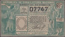 LOT-320  CUBA REPUBLIC OLD LOTTERY SORTEO DE LOTERIA Nº 251 30/09/1916 - Lottery Tickets