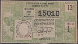 LOT-333  CUBA REPUBLIC OLD LOTTERY SORTEO DE LOTERIA Nº 270 10/04/1917 - Lottery Tickets