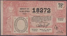 LOT-337  CUBA REPUBLIC OLD LOTTERY SORTEO DE LOTERIA Nº 277 19/06/1917 - Lottery Tickets
