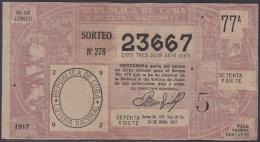 LOT-338  CUBA REPUBLIC OLD LOTTERY SORTEO DE LOTERIA Nº 278 30/06/1917 - Lottery Tickets