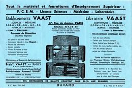 Buvard Librairie Vaast, Rue Jussieu à Paris. Matériel Pour L'enseignement Supérieur. - Autres