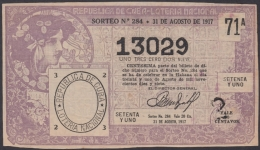 LOT-342  CUBA REPUBLIC OLD LOTTERY SORTEO DE LOTERIA Nº 284 31/08/1917 - Lottery Tickets