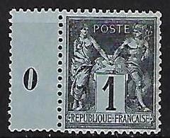 """FR YT 83b """" Sage 1c. Noir S. Gris """" 1877 Neuf** - 1876-1898 Sage (Type II)"""