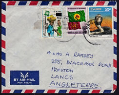 Ca0128 ZAIRE 1989,  Snake, Flag, & Surcharge Stamps On Mbuji Mayi 1 Cover To England, I,10(D) Cancellation - Zaire