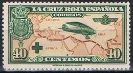 Sello 40 Cts Cruz Roja Española Aereo 1926, Num 345 ** - 1889-1931 Royaume: Alphonse XIII