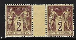 """FR YT 85 Paire """" Sage 2c. Brun-rouge """" 1877 Neuf** - 1876-1898 Sage (Type II)"""