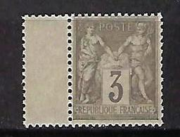 """FR YT 87 """" Sage 3c. Gris """" 1880 Neuf** - 1876-1898 Sage (Type II)"""