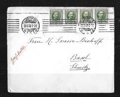 1909 Postage Paid 20 Ore On Copenhagen Letter Cover To Switzerland - 1905-12 (Frederik VIII)