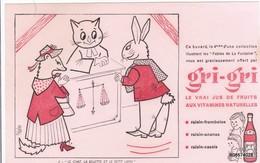BUVARD JUS DE FRUITS  GRI-GRI LE CHAT LA BELETTE ET LE PETIT LAPIN  21 X 13  Cm - Limonades