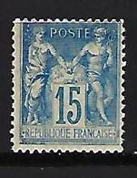"FR YT 101 "" Sage 15c Bleu Papier Quadrillé "" 1892 Neuf** - 1876-1898 Sage (Type II)"