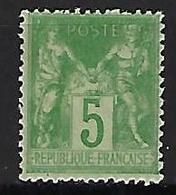 "FR YT 102 "" Sage 5c. Vert-jaune "" 1898 Neuf** - 1898-1900 Sage (Type III)"