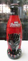 AC - COCA COLA MARVEL AVENGERS 2018 BLACK PANTHER SHRINK WRAPPED EMPTY GLASS BOTTLE & CROWN CAP - Bottles