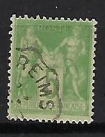 """FR YT 102 """" Sage 5c. Vert-jaune """" 1898 CAD Convoyeur De Ligne REIMS - 1898-1900 Sage (Type III)"""