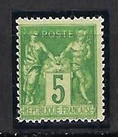 """FR YT 106 """" Sage 5c. Vert-jaune """" 1898 Neuf** - 1876-1898 Sage (Type II)"""