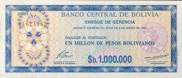 Bolivia 1 Boliviano Overprint, P-199 (1987) UNC - Bolivien