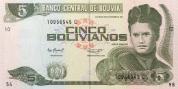Bolivia 5 Bolivianos, P-215a  UNC - Bolivien