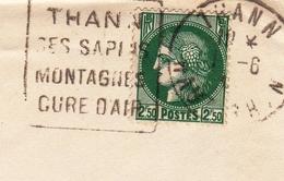 Lettre Thann Haut Rhin Lausanne Suisse Censure Contrôle Postal Militaire Censor Timbre Céres 2F50 Vert WW2 - Postmark Collection (Covers)